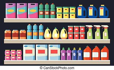 appartamento, drogheria, illustration., mensole, supermercato, vettore, prodotti, pulizia, articoli