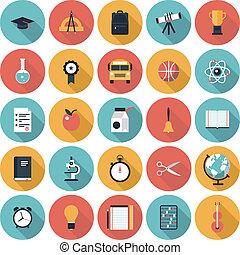 appartamento, educazione, set, icone