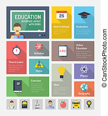 appartamento, elementi, educazione, icone fotoricettore