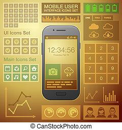 appartamento, elementi, mobile, kit., vettore, ui, interfaccia utente, disegno
