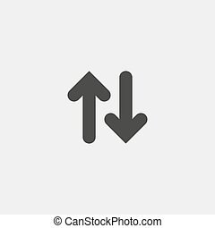 appartamento, eps10, frecce, su, illustrazione, color., giù, vettore, disegno, nero, icona