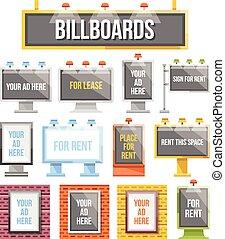 appartamento, esterno, pubblicità, tabelloni