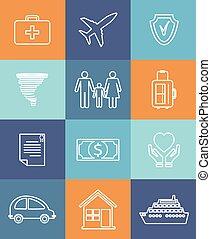 appartamento, famiglia, icone, auto, assicurazione casa