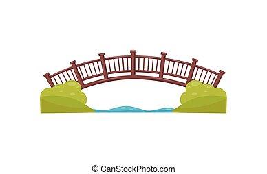 appartamento, fatto, mappa, legno, bridge., parco, wood., elemento, passerella, river., vettore, passerella, arco, città, attraverso