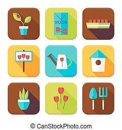 appartamento, fiori, set, giardinaggio, icone