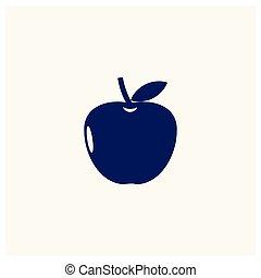 appartamento, foglia, mela, nero, silhouette, icona