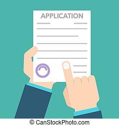 appartamento, forma, concept., prestito, illustrazione, domanda, vettore, documento, style.