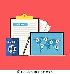appartamento, forma, vettore, mappa, laptop, application., illustrazione, viaggiare, domanda, penna, appunti, turismo, vacanze, mondo, concepts., passaporto, markers., visto, design.