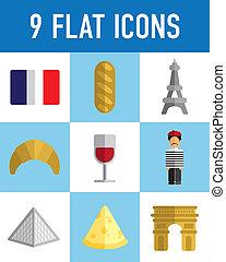 appartamento, francese, icone
