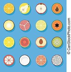 appartamento, frutta, icone
