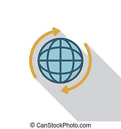 appartamento, globo, uggia, lungo, icona