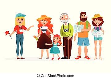 appartamento, gruppo, caratteri, lei, persone, detenere, isolato, illustrazione, guida, fondo., vettore, vario, ascolto, escursione, bianco, turisti, cartone animato, design.