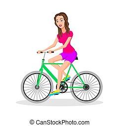 appartamento, hipsters, donna, isolated., bicycles., carattere, giovane, illustrazione, bicicletta, vettore, disegno, adulto, femmina, sentiero per cavalcate, vista, elegante, lato, fresco