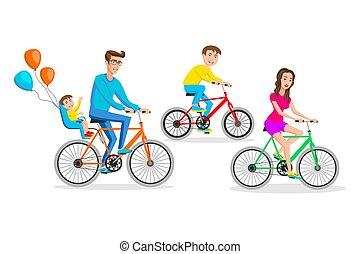 appartamento, hipsters, illustration., famiglia, grande, isolato, insieme, bicycles, vettore, disegno, illustrazione, cavalcate, cartone animato