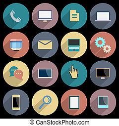 appartamento, icone affari, mobile, domande, web, oggetti, tecnologia