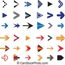 appartamento, icone, astratto, illustrazione, simboli, vettore, freccia, o