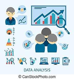 appartamento, icone concetto, analisi, dati, composizione