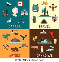 appartamento, icone corsa, canadese, natura