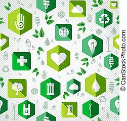 appartamento, icone, pattern., verde, seamless