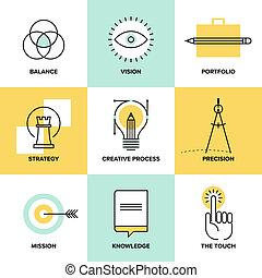 appartamento, icone, processo, creativo, disegno, linea