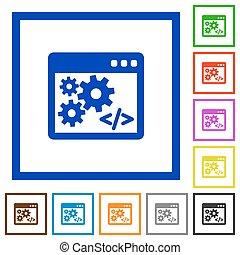 appartamento, icone, programmazione, incorniciato, domanda, interfaccia