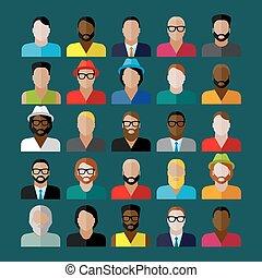 appartamento, icone, uomini, apparenza, collezione, icons., persone