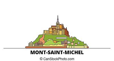 appartamento, illustration., città, limiti, baia, francia, famoso, mont, vettore, viste, santo, linea, orizzonte, viaggiare, relativo, michel, design.