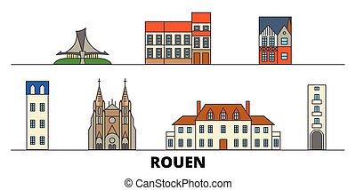 appartamento, illustration., città, limiti, francia, famoso, vettore, viste, rouen, linea, orizzonte, viaggiare, design.