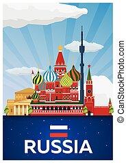 appartamento, illustration., manifesto, viaggiare, vettore, russia.