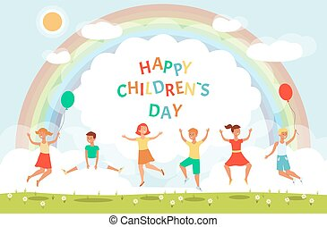 appartamento, illustration., saltare, giorno, bambini, vettore, bandiera, bambini, felice