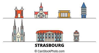 appartamento, illustration., strasburgo, città, limiti, francia, famoso, vettore, viste, linea, orizzonte, viaggiare, design.