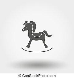 appartamento, illustration., toy., horse., silhouette., vettore, disegno, icon., oscillante