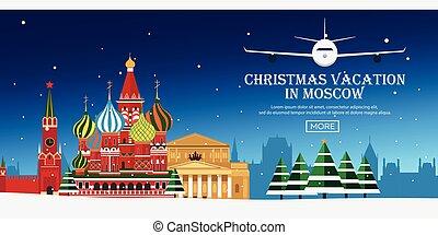 appartamento, illustration., travel., moscow., vettore, russia, natale, viaggio