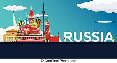 appartamento, illustration., viaggiare, vettore, russia., bandiera