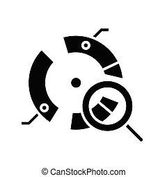 appartamento, illustrazione, icona, nero, vettore, analisi, diagramma, simbolo, concetto, glyph, rotondo, segno.