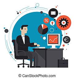 appartamento, illustrazione, ufficio, uomo affari