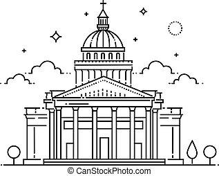 appartamento, illustrazione, viaggiare, parigi, pantheon, francia, vettore, icona