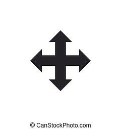 appartamento, isolated., frecce, illustrazione, quattro, vettore, indicazione, icona, design.
