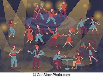 appartamento, isolato, caratteri, stile, retro, luce, musicisti, set., jazz, signore, cartone animato, dancers., fondo, n, illustrazioni, vettore, faceless, macchia, roccia, persone colorano, rockabilly, 1950s, rotolo, signori miei