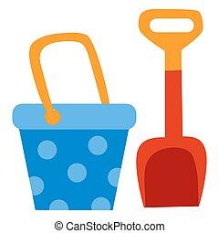 appartamento, isolato, secchi, oggetto, sandbox, set, giocattolo, gioco, paletta, illustrazione, sfondo bianco, vettore, bambini