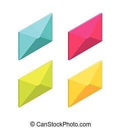 appartamento, isometrico, buttons., icone, media, email, web, vettore, pc., illustrazione, posta, smartphone, mobile