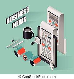 appartamento, isometrico, illustrazione affari, notizie, 3d