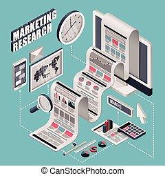 appartamento, isometrico, marketing, illustrazione, ricerca, 3d