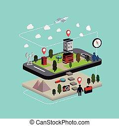 appartamento, isometrico, mobile, illustrazione, navigazione, 3d