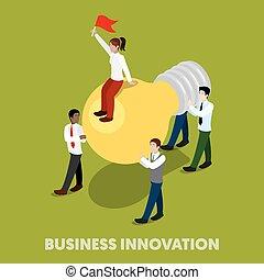 appartamento, isometrico, persone affari, concept., illustrazione, vettore, innovazione, 3d
