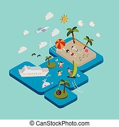 appartamento, isometrico, vacanza, illustrazione, spiaggia, 3d