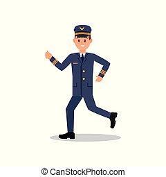 appartamento, lavorativo, giovane, isolato, correndo, vettore, disegno, action., professionale, aeroplano, aviatore, uniform., pilota
