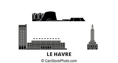 appartamento, le, illustrazione, viaggiare, landmarks., havre, francia, orizzonte, vettore, nero, viste, simbolo, città, set.