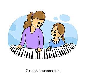 appartamento, lei, vettore, bianco, pianoforte, isolato, stile, illustrazione, insegnante, lesson., seduta, musica, fondo., ragazza