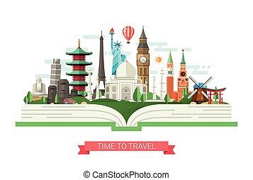 appartamento, limiti, illustrazione, famoso, libro, disegno, mondo